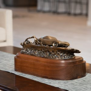 Corvette Cremation Urn on a Living Room Table Classic Car Funeral Memorial