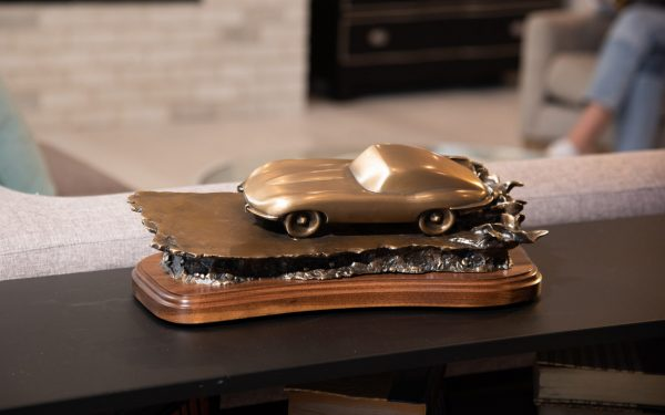 Jaguar Cremation Urn on a Living Room Table XKE Classic Car Funeral Memorial