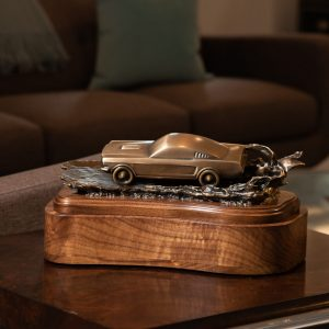 Ford Mustang Cremation Urn on a Living Room Table Classic Car Funeral Memorial