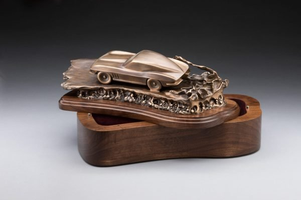 open view of bronze corvette inspired sculpture classic car cremation urn funeral memorial