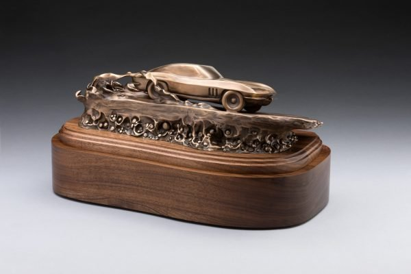 back view of bronze corvette inspired sculpture classic car cremation urn funeral memorial