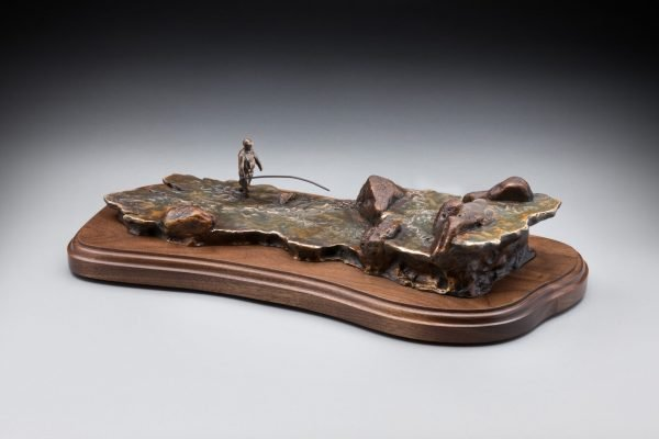 base only view of bronze fly fishing sculpture cremation urn funeral memorial