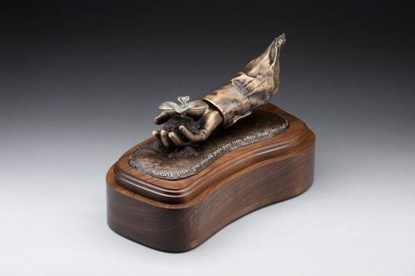 end view of bronze sculpture cremation urn funeral memorial for mom dad gardening legacy