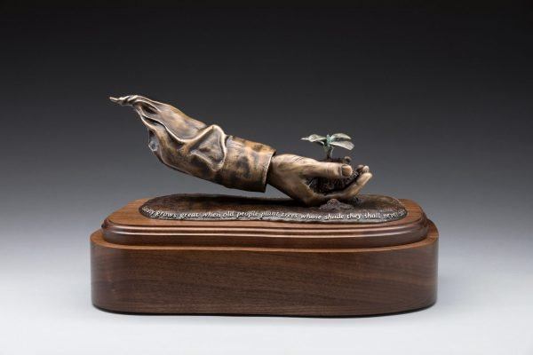side view of bronze sculpture cremation urn funeral memorial for mom dad gardening legacy