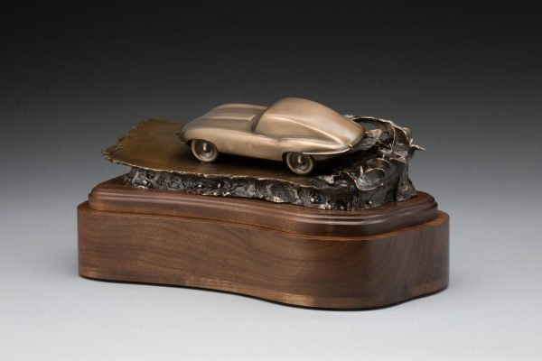 rear view of bronze jaguar xke e-type inspired sculpture classic car cremation urn funeral memorial