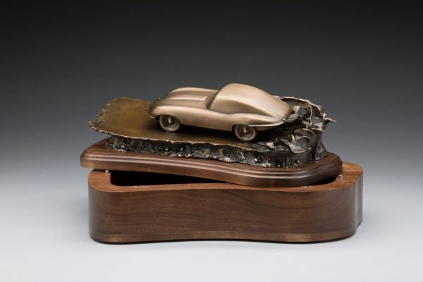open view of bronze jaguar xke e-type inspired sculpture classic car cremation urn funeral memorial