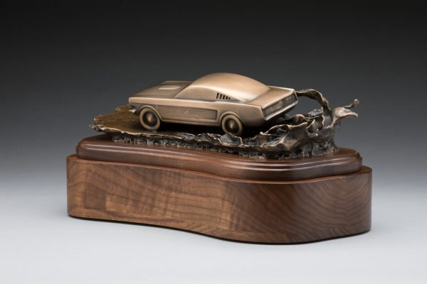 rear view of bronze mustang inspired sculpture classic car cremation urn funeral memorial