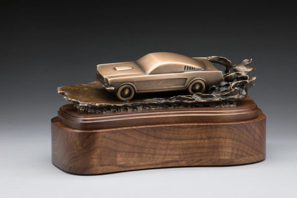 side view of bronze mustang inspired sculpture classic car cremation urn funeral memorial