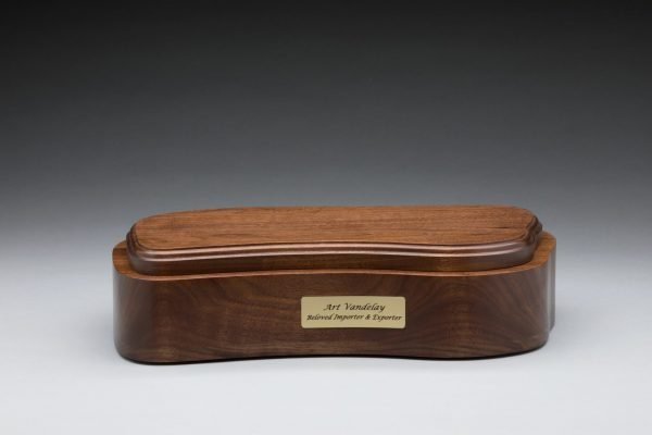 walnut cremation urn base with plaque standard capacity